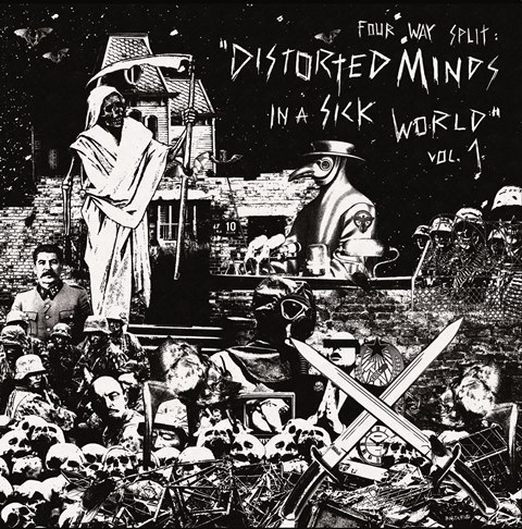 PR 087 DISTORTED MINDS IN A SICK WORLD vol. I - 4 way split LP s KRÜGER
