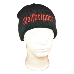 WOLFBRIGADE – ohrnovací kulich / turn-up beanie (red logo)